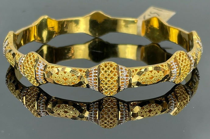 22k Bangle Solid Gold Simple Ladies Two Tone Geometric Pattern Design B394