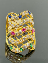 22k Ring Solid Gold Ladies Jewelry Multi Layer Band With Mix Color Stone R2047z