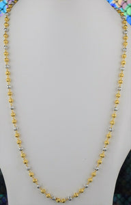 22k Chain Solid Gold Ladies Elegant Two Tone Infinity Beads Design C059 - Royal Dubai Jewellers