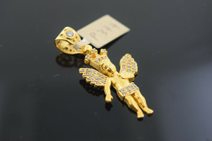 22k Solid Gold Charm Pendant Elegant King Of Angel Guardian Design p377
