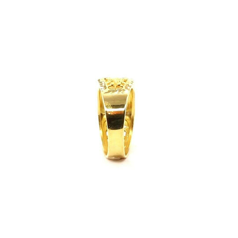 22k Ring Solid Gold Elegant Square Filigree with Stone Men Ring Size R2033 mon - Royal Dubai Jewellers