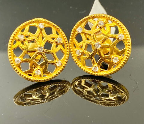 22k Solid Gold Earrings Round Floral Pattern Signity Stone E6862 - Royal Dubai Jewellers