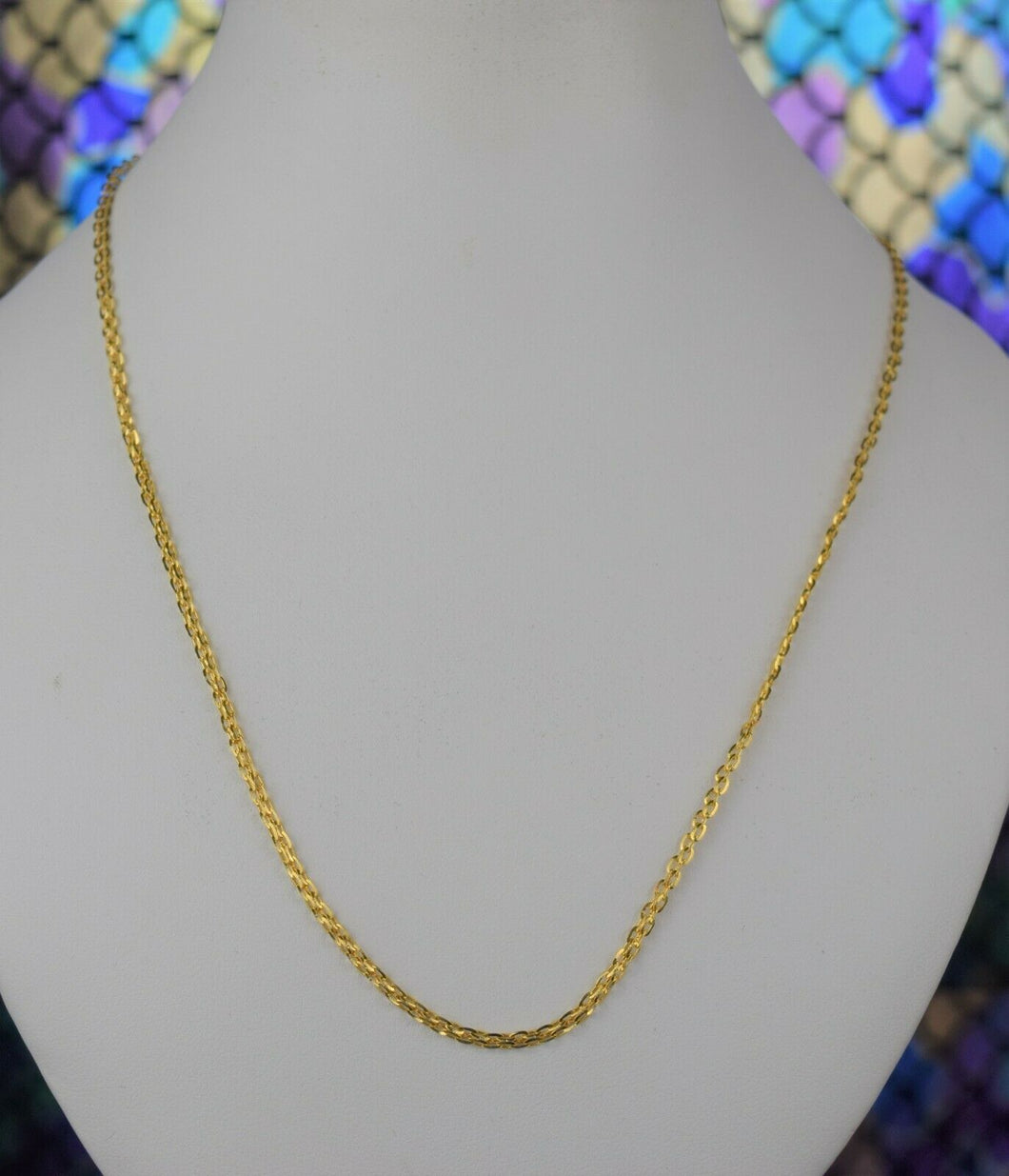 22k Chain Solid Gold Simple Elegant Cable Link Design C3375