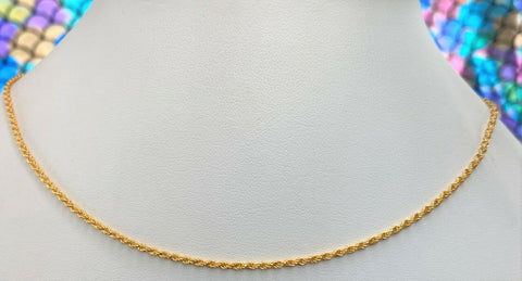 22k Chain Solid Gold Simple Elegant Thin Rope Link Design C3464 - Royal Dubai Jewellers