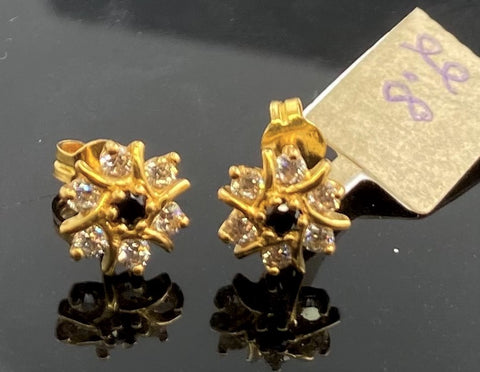 22k Earring Solid Gold Ladies Simple Floral Design E6683 - Royal Dubai Jewellers