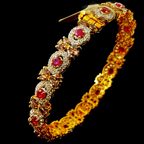 22k Bangle Solid Gold Elegant Ladies Classic Stone Filled Design Br47