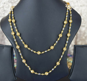 22k Necklace Set Beautiful Solid Gold Ladies Modern Two Tone Beads Design LS1050