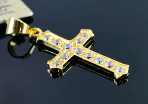22k Pendant Solid Gold Simple Christian Cross With Stones Design P937 - Royal Dubai Jewellers