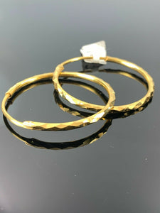 22k Earrings Solid Gold Ladies Jewelry Simple Hoops With Diamond Cutting E778