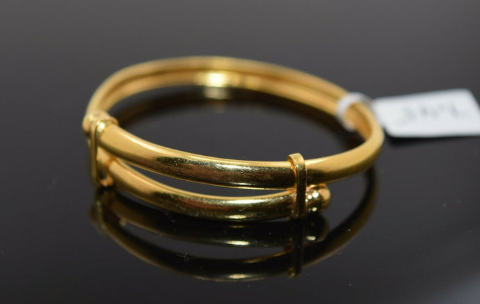 22k Solid Gold ELEGANT BABY CHILDREN BANGLE Adjustable Design cb1376