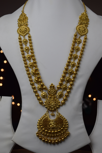 22k Antique Finished Modern Long Rani Haar Floral Design Necklace Set S8