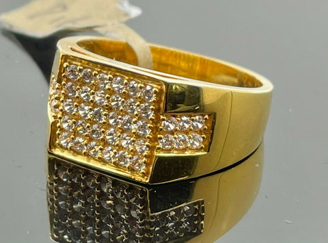 22k Ring Solid Gold Men Jewelry Simple Square Signet Design with Stones R2166 - Royal Dubai Jewellers