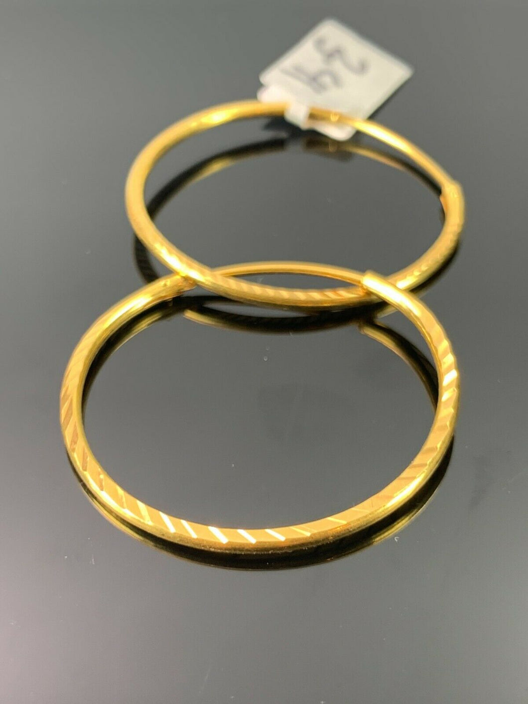 22k Earrings Solid Gold Ladies Jewelry Simple Hoops With Diamond Cutting E8166