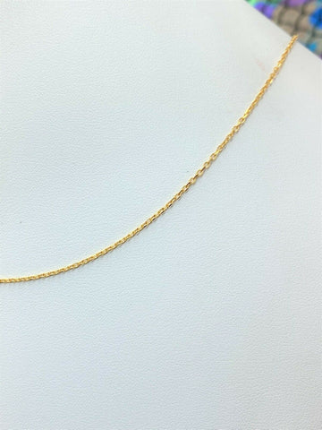 21k Chain Solid Gold Simple Elegant Tiny Cable Link Design C022