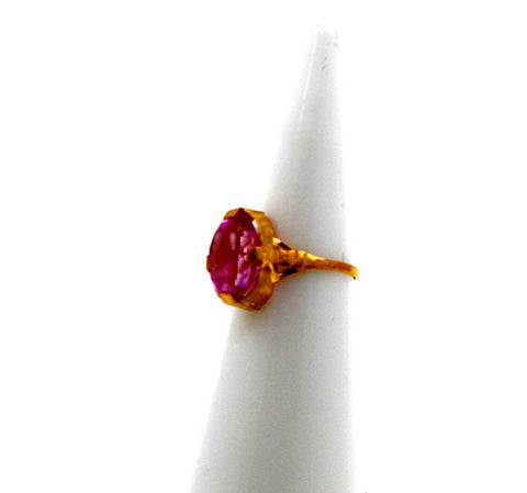 "22k 22ct Solid Gold BEAUTIFUL BABY Ring Pink Stone SIZE 0.9 ""RESIZABLE"" r1225"