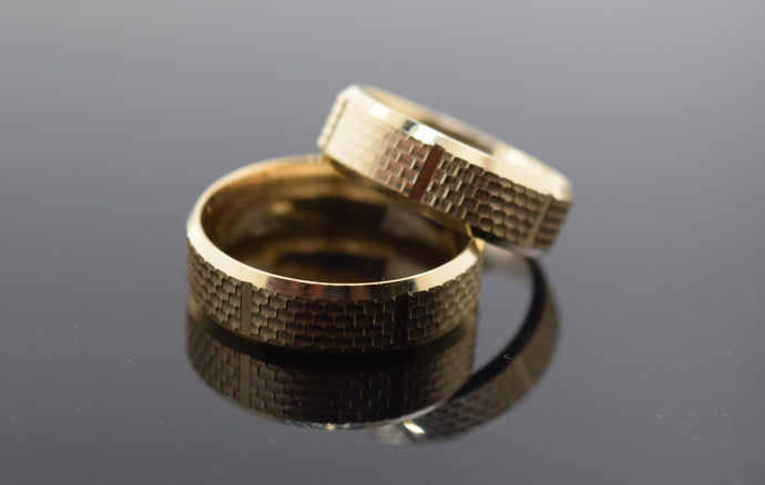 18k Elegant Unisex Band Modern Simple Unique Square Design MB20
