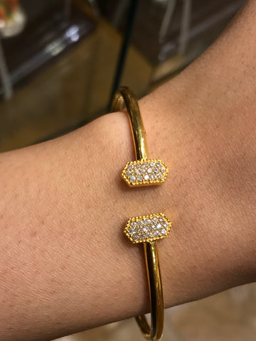 22k Solid Gold Modern Ladies Posh Bangle Simple Sparkly Design Br1126