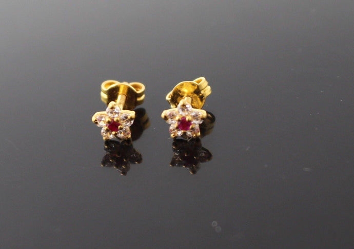 22k 22ct Solid Gold ELEGANT Star SHAPE Simple STUD EARRING Floral Design e9901
