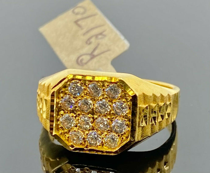 22k Ring Solid Gold Men Jewelry Simple Square Signet Design with Stones R2170