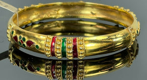 22k Bangle Solid Gold Classic Ladies Tri Color Enamel Design B371