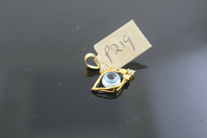 22k Solid Gold Charm Pendant Simple Arabic Evil Eye Design p219