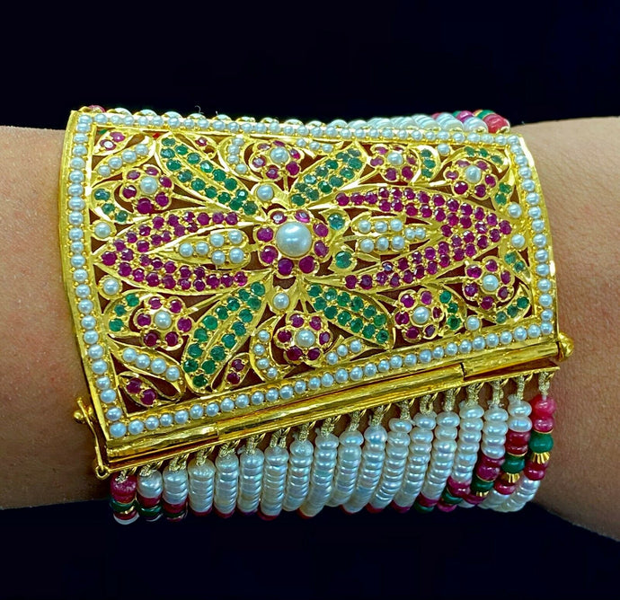 22k Bangle Solid Gold Traditional Bridal Floral Design Multi Color Stones B363