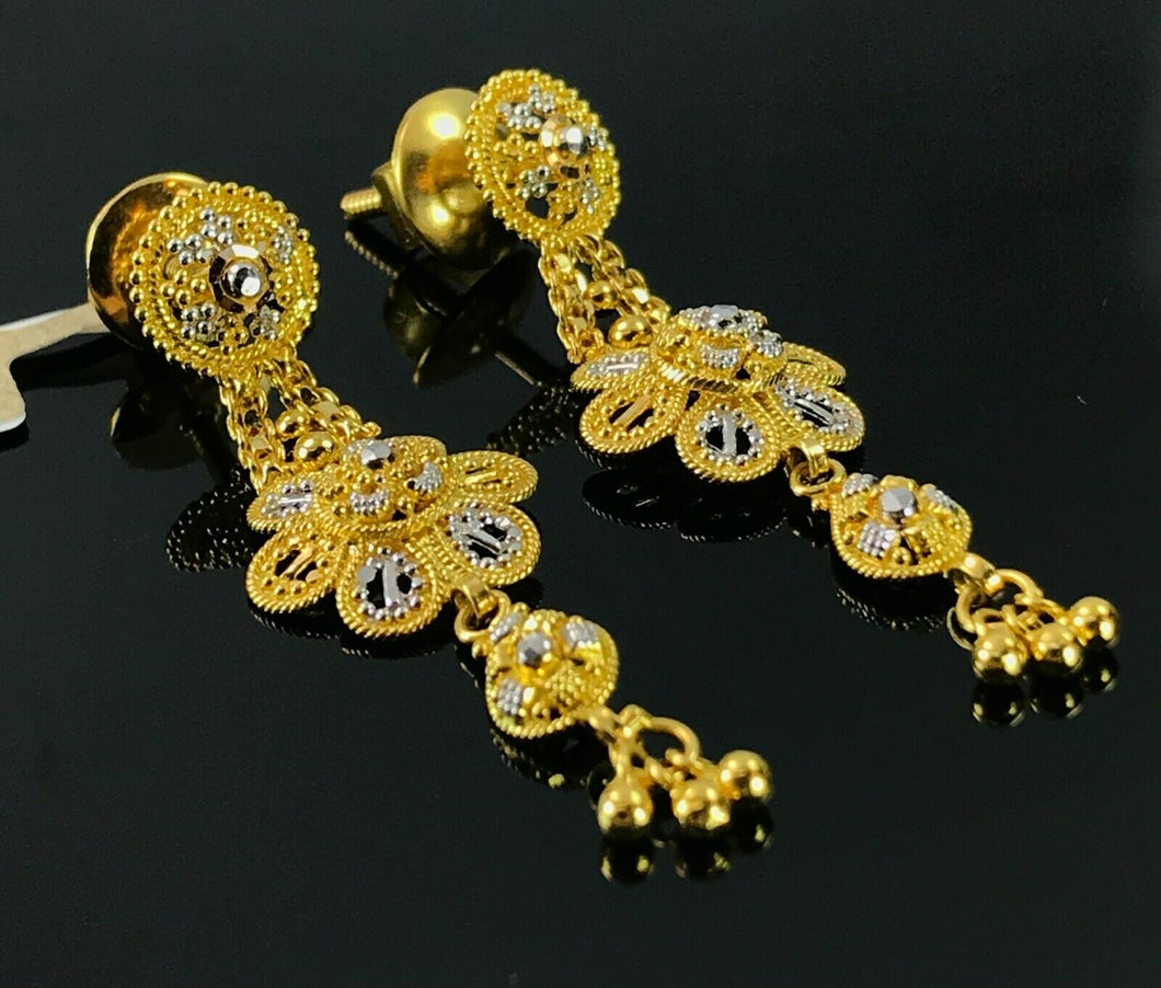 22k Earrings Solid Gold Ladies Elegant Filigree Two Tone Floral Design E6601