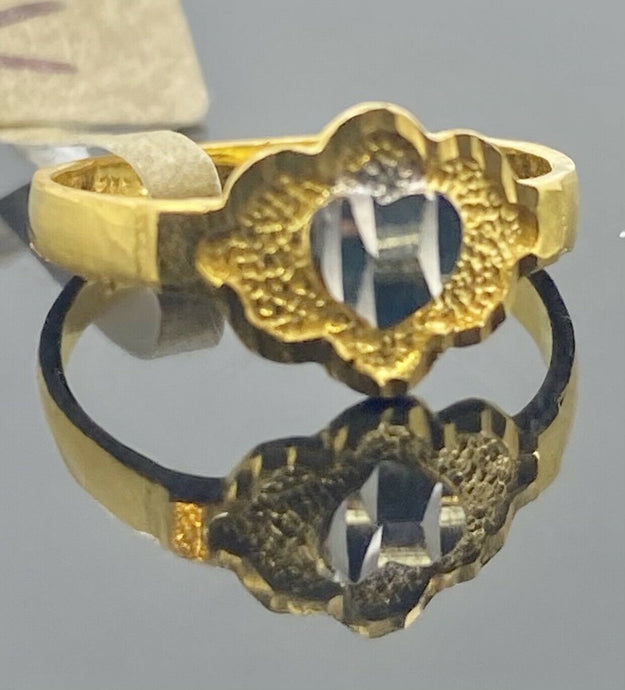 22k Ring Solid Gold Children Jewelry Two Tone Heart Design R2120zz - Royal Dubai Jewellers