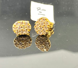 22k Solid Gold Earrings Studs Oval Shaped Signity Stones E6837 - Royal Dubai Jewellers