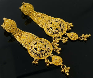 22k Necklace Set Beautiful Solid Gold Ladies Traditional Filigree Design LS993 - Royal Dubai Jewellers