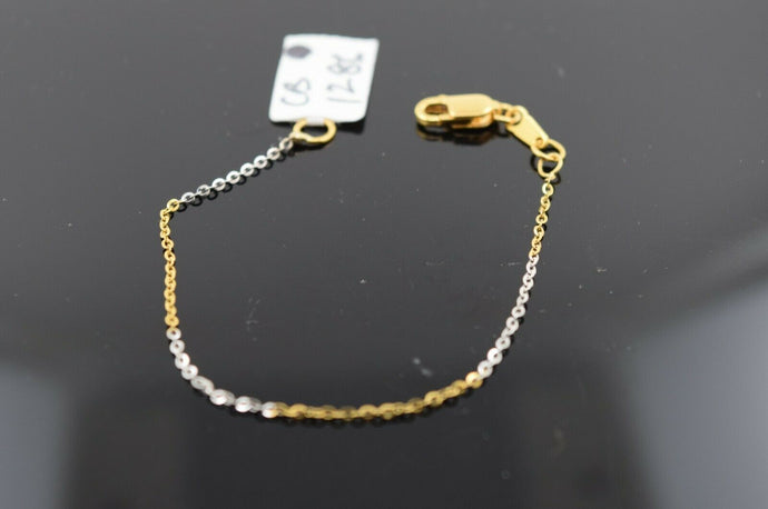 22k Solid Gold ELEGANT BABY CHILDREN BRACELET Two Tone Rolo Design cb1286