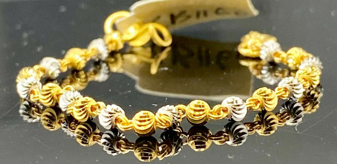 22k Bracelet Solid Gold Children Jewelry Simple Two Tone Link Design CB1159