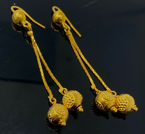 22k Necklace Set Beautiful Solid Gold Ladies Simple Bead Design LS1053