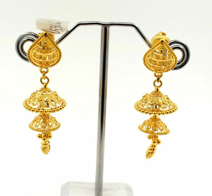22k 22ct Solid Gold DOUBLE LAYERED Jhumka DANGLING DESIGN LADIES Earrings E5366 - Royal Dubai Jewellers