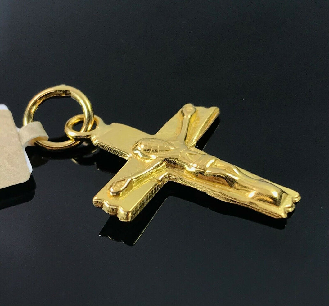 22k Pendant Solid Gold Simple Jesus Crucifix Cross Glossy Design P408