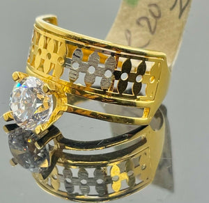 22k Ring Solid Gold Ladies Jewelry Solitaire With Geometric Design R2091zz