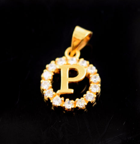22k Jewelry Solid Gold Round Shape Pendent P letter Stone Modern Design p572