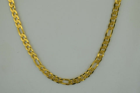 22k Chain Solid Gold Simple Elegant Long Curb Link Design C3570 - Royal Dubai Jewellers