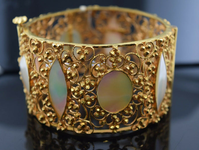 22k Bangle Solid Gold Simple Ladies Floral Filigree with Opal Stone BR131z