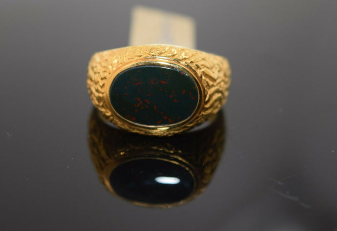 22k Ring Solid Gold Ring Men Jewelry Classic Oval Blood Stone Design R2040zz