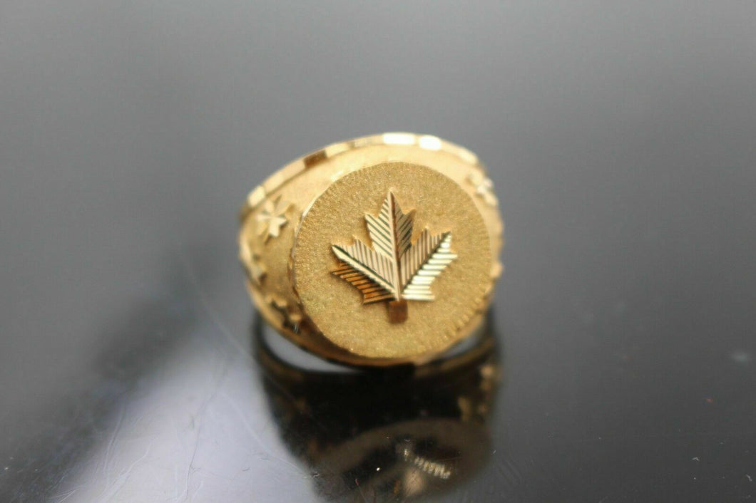 22k Ring SOLID Gold Canadian Flag canada Maple Leaf Mens Ring Band RESIZABLE mf - Royal Dubai Jewellers