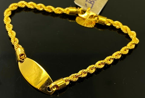 22k Bracelet Solid Gold Children Jewelry Simple Plate With Rope Design CB1130