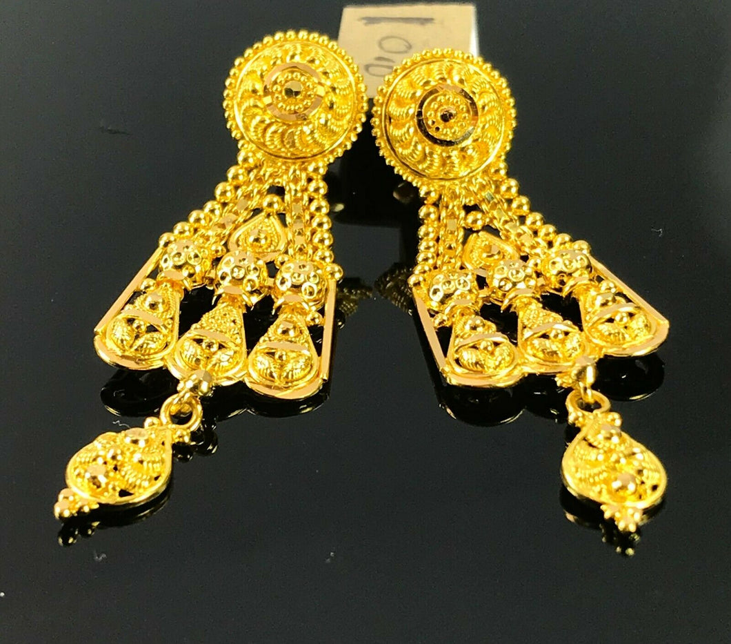 22k Earrings Solid Gold Ladies Elegant Classic Filigree Design E6630