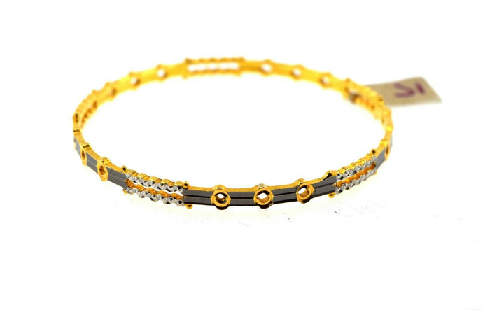 22k Solid Gold Ladies Bangle Modern Two Tone Thin Diamond Cut Design br91