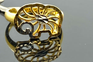 22k Ring Solid Gold Children Jewelry Simple Geometric Elephant Design R2181z - Royal Dubai Jewellers