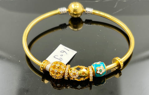 22k Bracelet Bangle Solid Gold Ladies Charm with Enamel Br5183 - Royal Dubai Jewellers