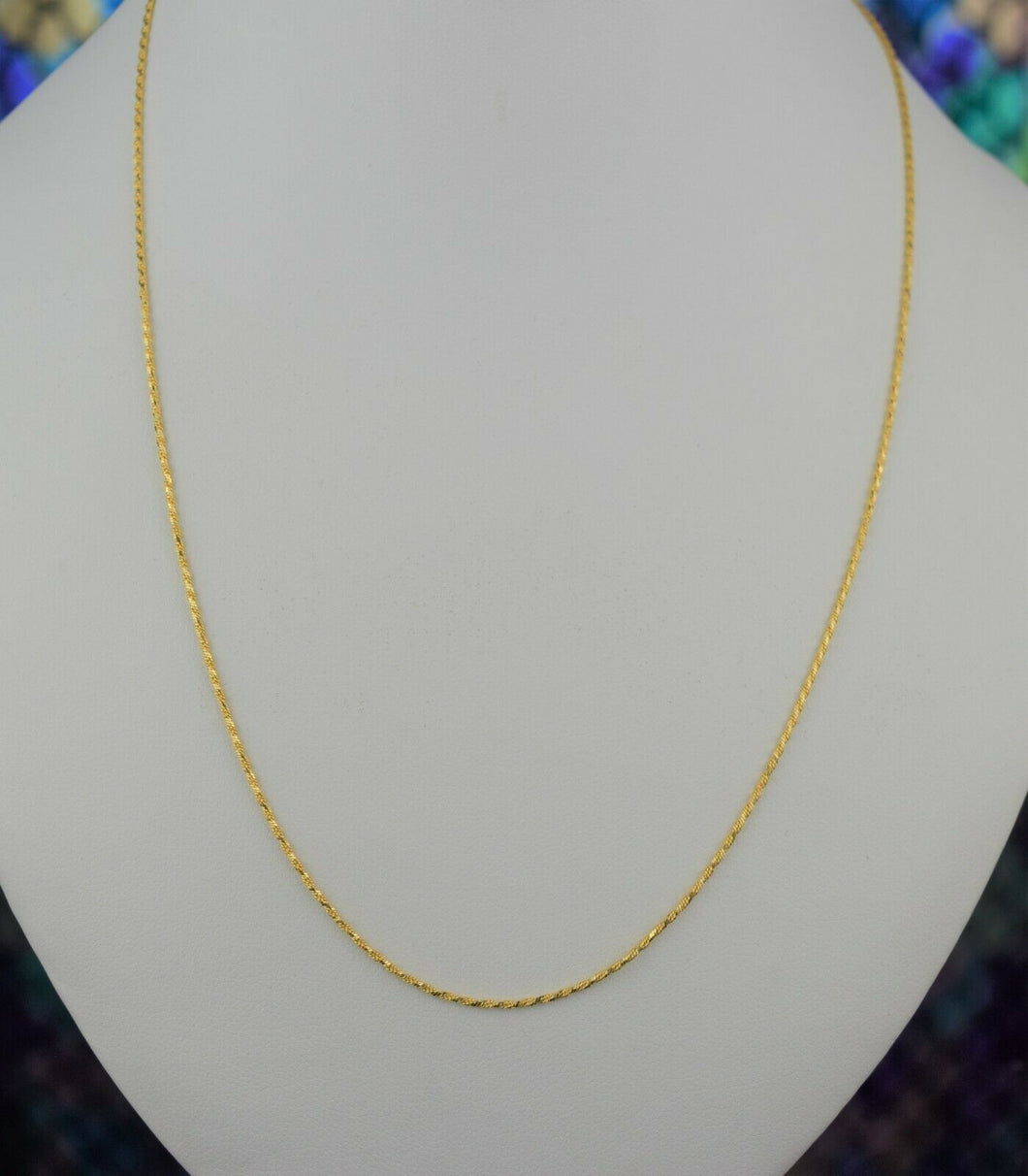 22k Chain Solid Gold Simple Elegant Thin Twist Link Design C075 - Royal Dubai Jewellers