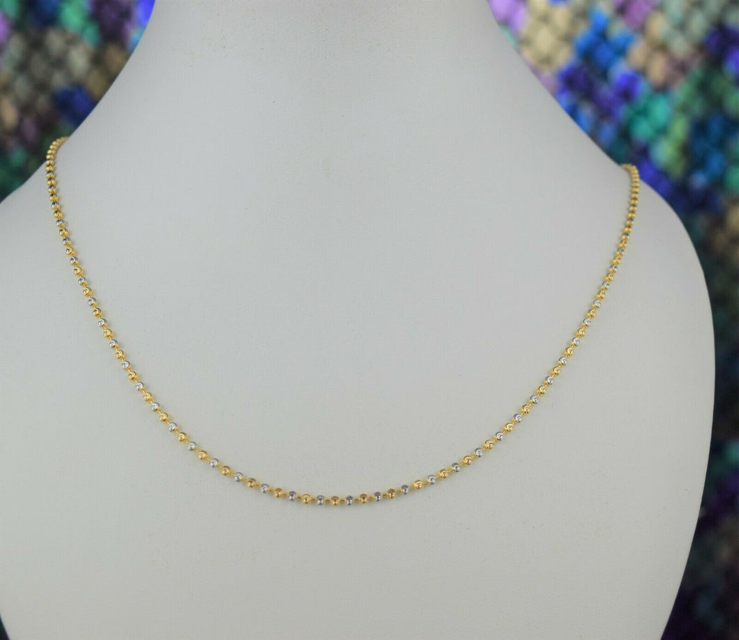 22k Chain Solid Gold Ladies Elegant Two Tone Infinity Beads Link Design C040