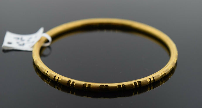 22k Solid Gold ELEGANT BABY CHILDREN BANGLE Simple Diamond Cut Design cb1296