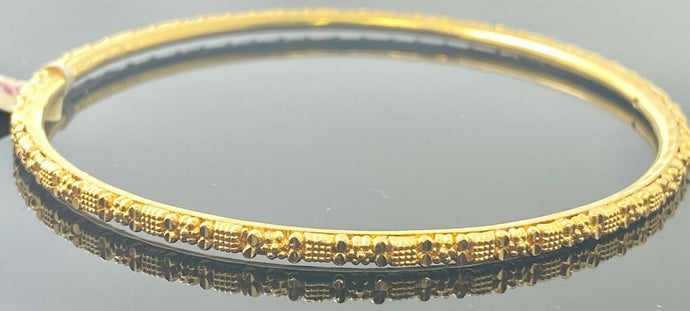 22k Bangle Solid Gold Simple Ladies Diamond Cut Floral Pattern Design BR106